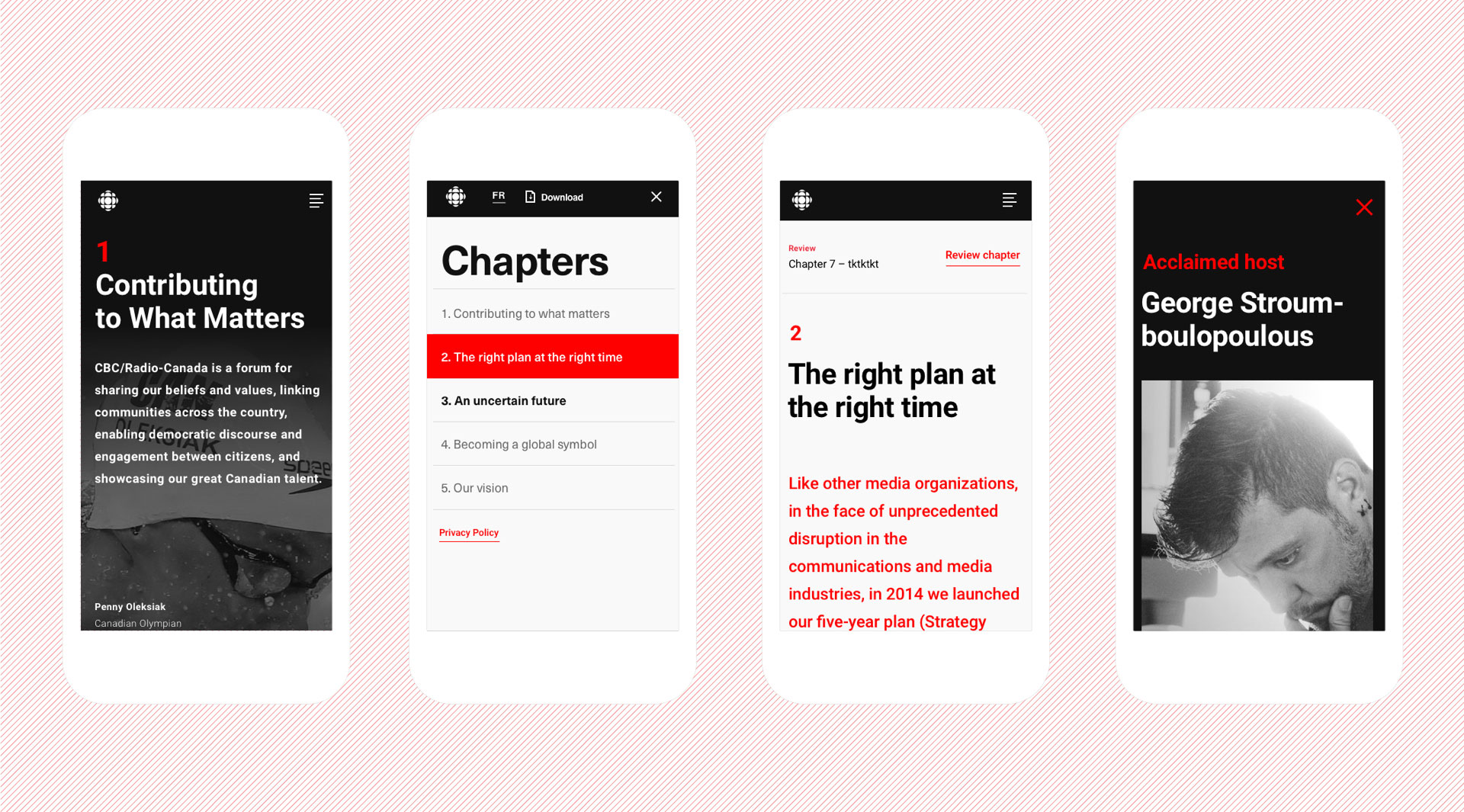 Complete mobile flow showing home page, navigation, chapter pages, and detail pages