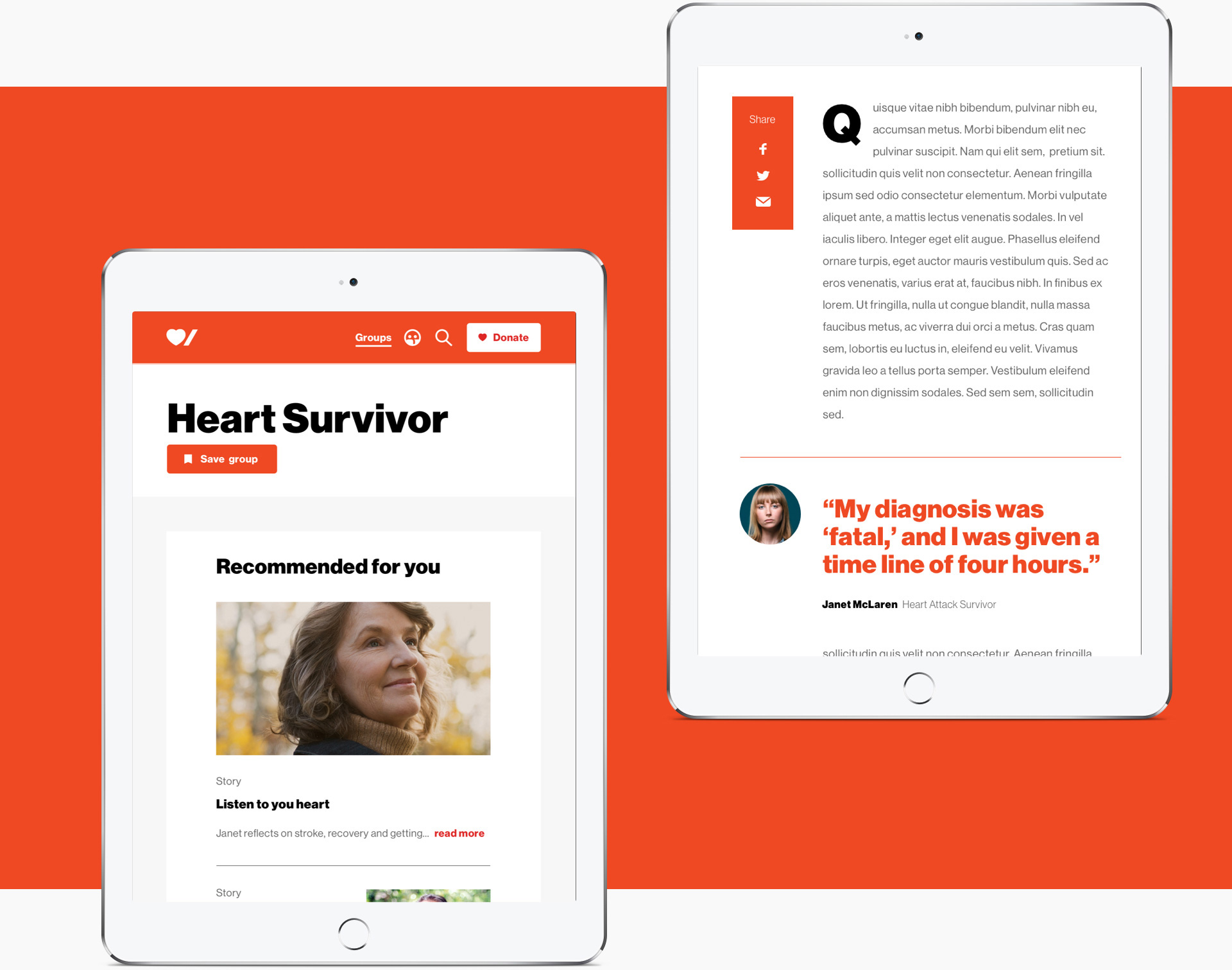 Two iPad views of the website, first is a view of the heart survivor group, the second is a view of the a survivor story page
