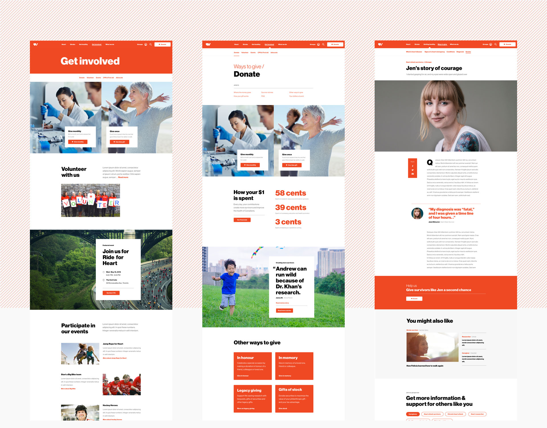 Heart and Stroke primary landing page, secondary landing page, and detail page